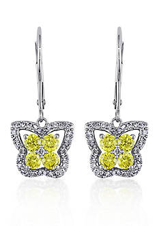 Belk & Co. Yellow and White Diamond Butterfly Earrings in 14k White Gold