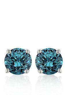 Belk & Co. Blue Diamond Stud Earrings in 14k White Gold