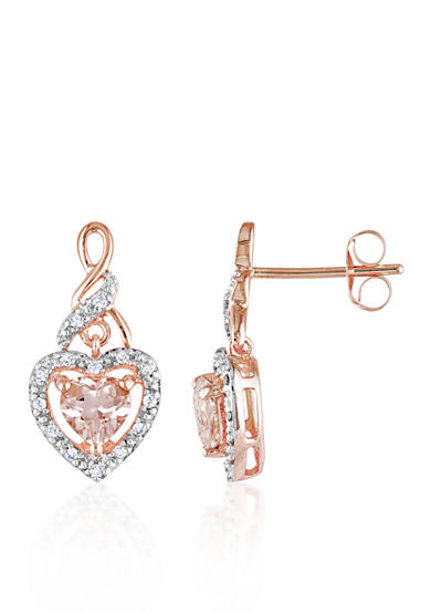 Belk & Co. 10k Rose Gold Morganite and Diamond Heart Earrings