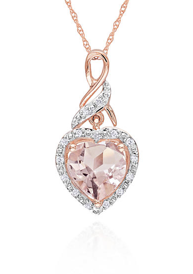 Belk & Co. 10k Rose Gold Morganite and Diamond Heart Pendant