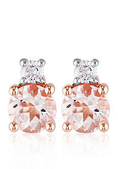 Belk & Co. 10k Rose Gold Morganite and Diamond Stud Earrings