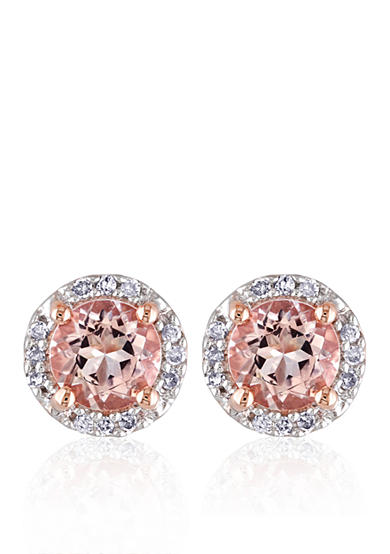 Belk & Co. 10k Rose Gold Morganite and Diamond Stud Earrings