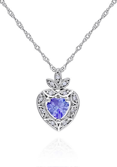 Belk & Co. Tanzanite and Diamond Heart Pendant in 10k White Gold