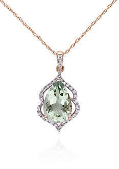 Belk & Co. 10k Rose Gold Green Amethyst and Diamond Pendant