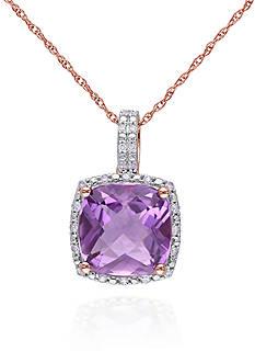 Belk & Co. 10k Rose Gold Amethyst and Diamond Pendant
