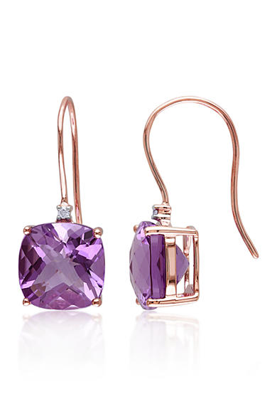 Belk & Co. 10k Rose Gold Amethyst and Diamond Earrings