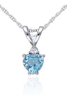 Belk & Co. 10k White Gold Blue Topaz and Diamond Heart Pendant