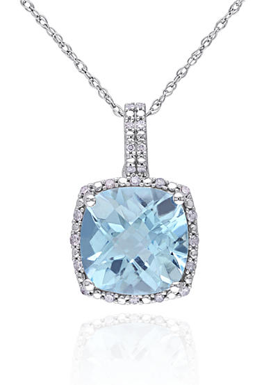 Belk & Co. 10k White Gold Blue Topaz and Diamond Pendant