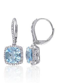 Belk & Co. 10k White Gold Blue Topaz and Diamond Earrings