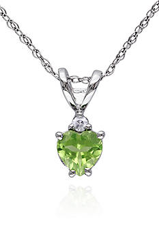 Belk & Co. 10k White Gold Peridot and Diamond Pendant