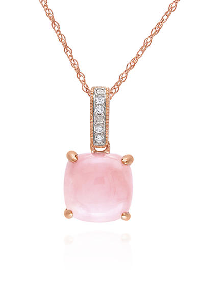 Belk & Co. 10k Yellow Gold Pink Opal and Diamond Pendant