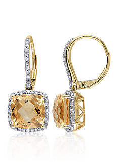Belk & Co. 10k Yellow Gold Citrine and Diamond Earrings