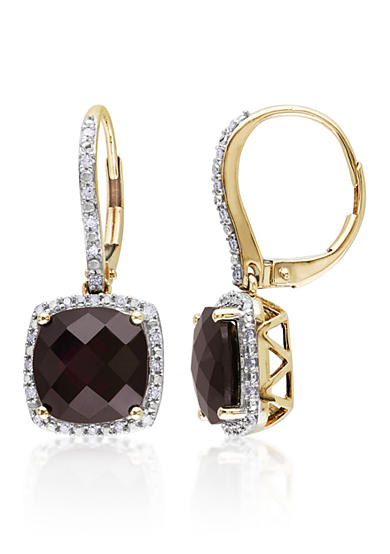 Belk & Co. 10k Yellow Gold Garnet and Diamond Earrings