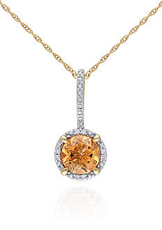 Belk & Co. 10k Yellow Gold Citrine and Diamond Pendant