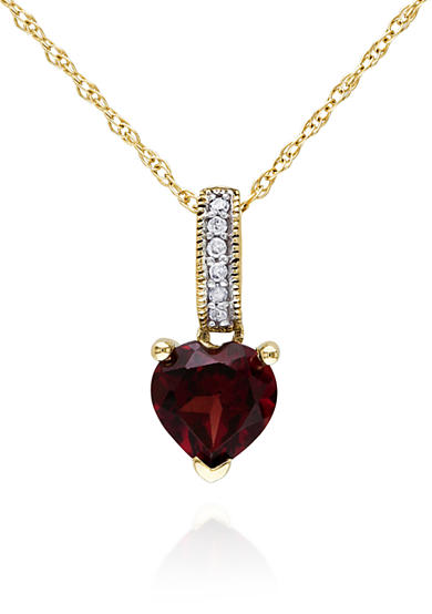 Belk & Co. 10k Yellow Gold Garnet and Diamond PendantX-GAR HRT W/DIA BALE