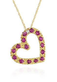 Belk & Co. 10k Yellow Gold Ruby and Diamond Heart Pendant