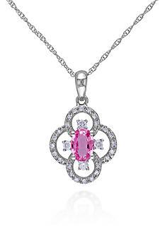 Belk & Co. 10k White Gold Pink Sapphire and Diamond Flower Pendant