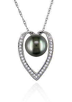 Belk & Co. 14k White Gold Black Tahitian Pearl and Diamond Pendant