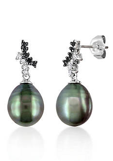 Belk & Co. 10k White Gold Black Tahitian Pearl and Black and White Diamond Earrings