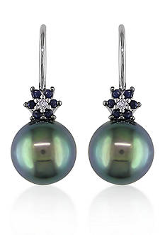 Belk & Co. 10k White Gold Black Tahitian Pearl, Sapphire and Diamond Earrings