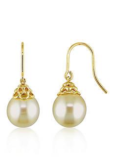Belk & Co. 14k Yellow Gold Golden South Sea Pearl Earrings