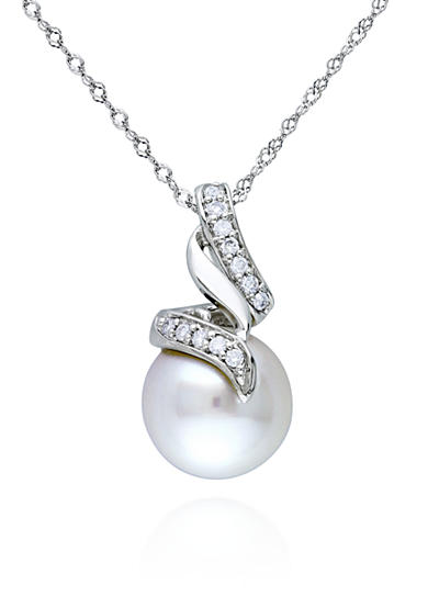 Belk & Co. 14k White Gold South Sea Pearl and Diamond Pendant