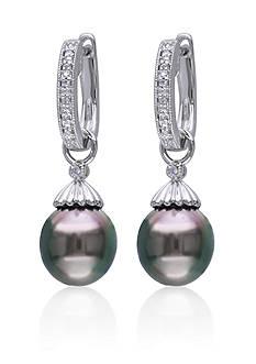 Belk & Co. Sterling Silver Black Tahitian Pearl and Diamond Earrings