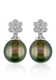 Belk & Co. Sterling Silver Black Tahitian Pearl and Diamond Flower Earrings