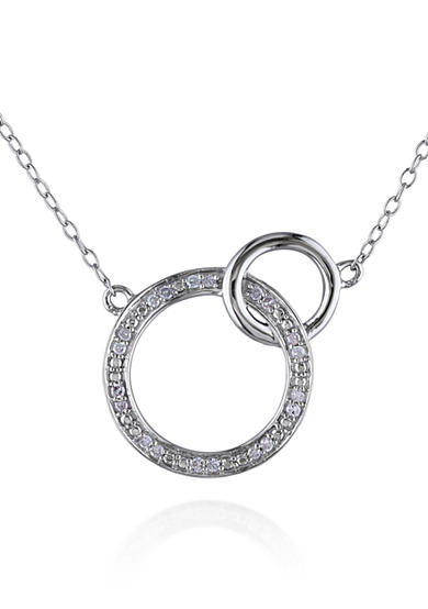 Belk & Co. Diamond Double Circle Necklace in Sterling Silver