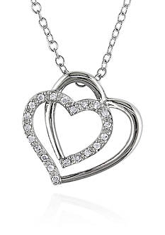 Belk & Co. Diamond Two Heart Pendant in Sterling Silver