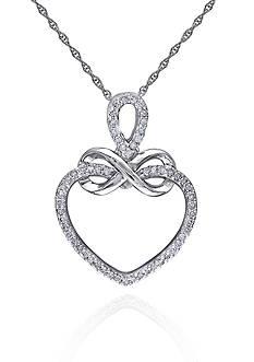 Belk & Co. Diamond Infinity Heart Pendant in 10k White Gold