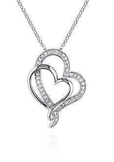 Belk & Co. Diamond Two Heart Pendant in Sterling Silver