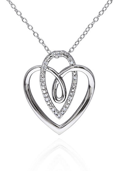 Belk & Co. Diamond Heart and Pear Pendant in Sterling Silver