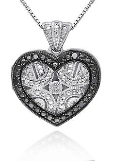 Belk & Co. Black Diamond Heart Locket in Sterling Silver