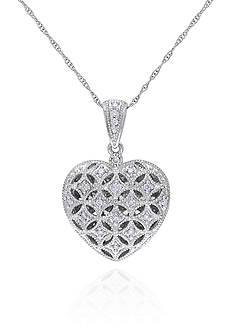 Belk & Co. Diamond Heart Locket in 10k White Gold