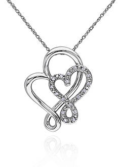 Belk & Co. Diamond Double Heart Pendant in 10k White Gold