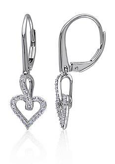 Belk & Co. Diamond Heart Earrings in 10k White Gold