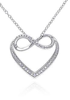 Belk & Co. Diamond Infinity Heart Pendant in Sterling Silver