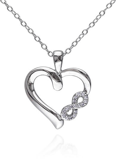 Belk & Co. Diamond Heart Infinity Pendant in Sterling Silver