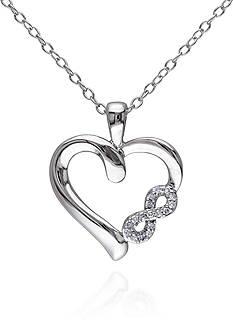 Belk & Co. Diamond Heart Infinity Pendant in Sterling Silver