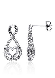 Belk & Co. Diamond Heart Twist Earrings in Sterling Silver