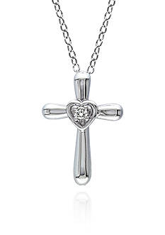 Belk & Co. Diamond Heart Cross Pendant in Sterling Silver