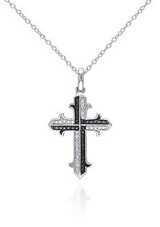 Belk & Co. Black and White Diamond Cross Pendant in Sterling Silver