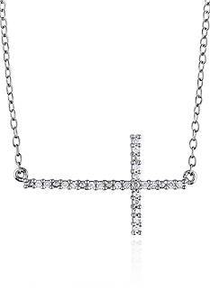 Belk & Co. Diamond Sideways Cross Pendant in Sterling Silver