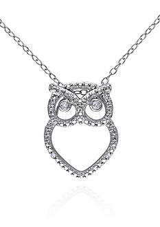 Belk & Co. Diamond Owl Pendant in Sterling Silver