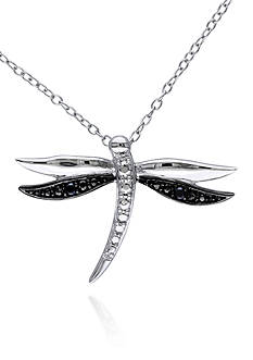 Belk & Co. Black Diamond Dragonfly Pendant in Sterling Silver