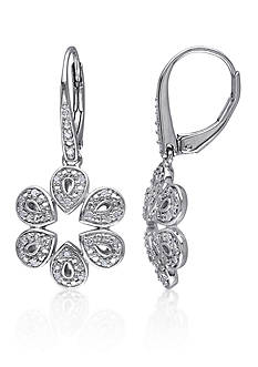 Belk & Co. Diamond Flower Earrings in Sterling Silver