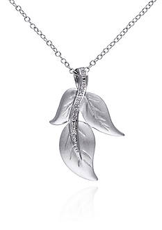 Belk & Co. Diamond Leaf Pendant in Sterling Silver