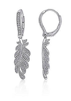 Belk & Co. Diamond Leaf Earrings in Sterling Silver