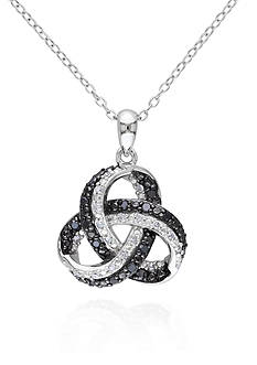 Belk & Co. Black and White Diamond Twist Pendant in Sterling Silver